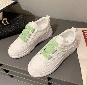 Женские кроссовки, на липучке, белый/зеленый
