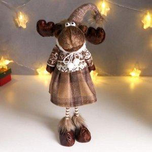 """Кукла интерьерная """"Лосик в юбке в клеточку, и свитере с узорами"""" 57х12х17 см"""