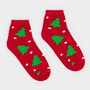 Носки женские «Ёлки» цвет красный, размер 23-25