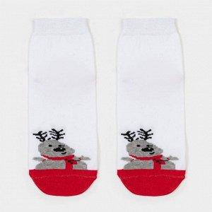 Носки женские «Олень» цвет белый/красный, размер 23-25