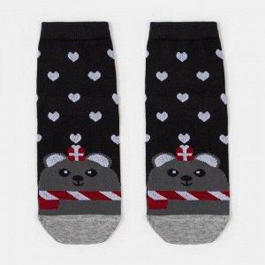 Носки женские «Медведь и сердечки» цвет графит, размер 23-25