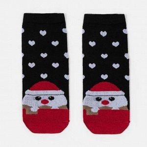 Носки женские «Дед мороз и сердечки» цвет чёрный, размер 23-25