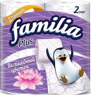Туалетная бумага FAMILIA PLUS Волшебный цветок 2 слоя 4 рулона