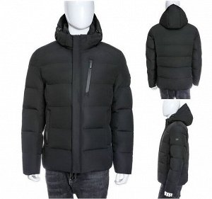 Мужская зимняя спортивная стеганая куртка с капюшоном и контрастным подкладом