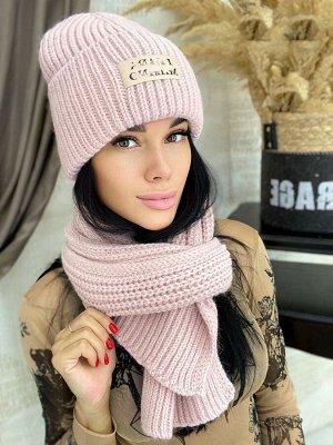 Шапка+шарф На флисе,с подворотом. 60% шерсть, 40% акрил. Россия
