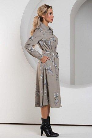 Платье Неада №11. Цвет:оливковый/белый