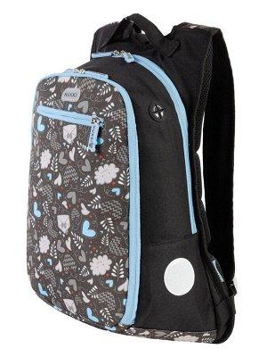 Рюкзак Отделения: Основное: Вместительное, легко вмещается формат А4; Открытый большой карман на резинке. В переднем: Органайзер для принадлежностей; Небольшой плоский карман на молнии. Характеристика