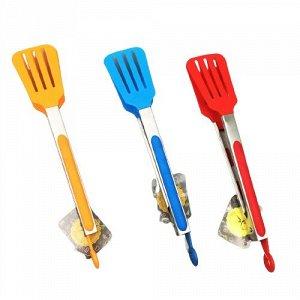 Щипцы кулинарные, 270 мм, с прорезями, металл, термо - пластик, колор,MULTICO