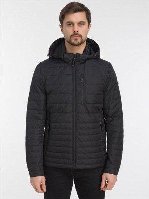 Демисезонная стеганая мужская куртка с капюшоном, цвет ЧЕРНЫЙ
