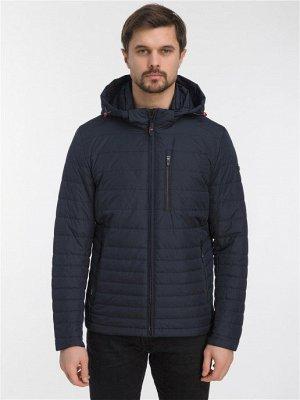 Демисезонная стеганая мужская куртка с капюшоном, цвет ТЕМНО-СИНИЙ