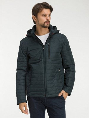 Демисезонная стеганая мужская куртка с капюшоном, цвет ТЕМНО-ЗЕЛЕНЫЙ