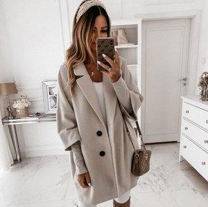 Женское пальто, рукав 3/4, цвет серый