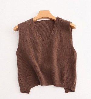 Вязаный женский жилет, цвет коричневый