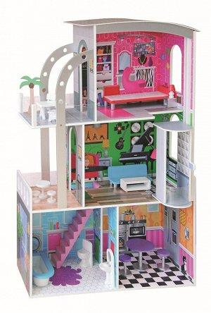 Деревянные игрушки: Кукольный дом 3 этажа ТХ1153 (1/1) (разм. 74*30*110см)