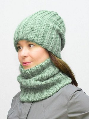 Комплект зимний женский шапка+снуд Жасмин (Цвет зеленый)