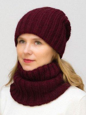 Комплект зимний женский шапка+снуд Жасмин (Цвет вишневый)