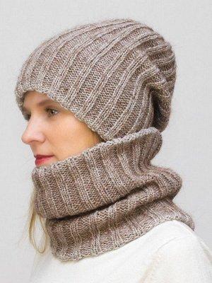 Комплект зимний женский шапка+снуд Жасмин (Цвет орех)