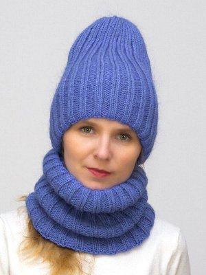 Комплект зимний женский шапка+снуд Жасмин (Цвет фиолетовый)