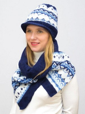 Комплект зимний женский шапка+шарф Милана (Цвет синий)