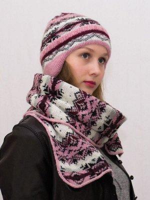 Комплект зимний женский шапка+шарф Мохер (Цвет розовый/черный)