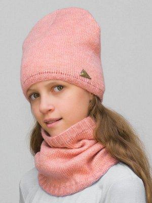 Комплект для девочки шапка+снуд Сафина (Цвет абрикосовый)