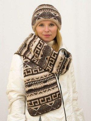Комплект зимний женский шапка+шарф Зима (Цвет коричневый)