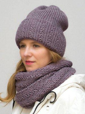 Комплект зимний женский шапка+снуд Ажур (Цвет сиреневый)