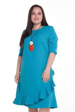 Платье футляр с воланом спереди бирюза