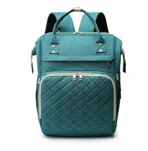 Сумка-рюкзак для мам, со стеганым карманом, цвет зеленый