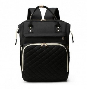 Сумка-рюкзак для мам, со стеганым карманом, цвет черный