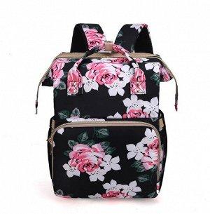 """Сумка-рюкзак для мам, с выдвижной кроваткой для ребенка, принт """"Розы"""", цвет черный"""