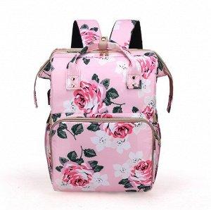 """Сумка-рюкзак для мам, с выдвижной кроваткой для ребенка, принт """"Розы"""", цвет розовый"""