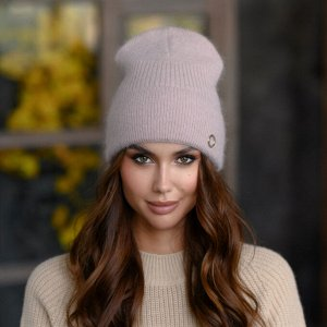 """Вязанная шапка """"Луиза"""" цвет - темный  беж"""