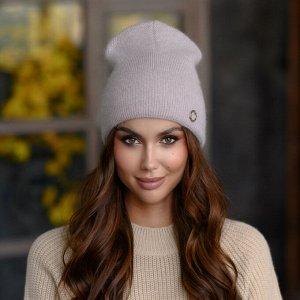 "Вязанная шапка ""Альбертина"" цвет - темный беж"