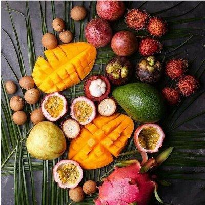 Экзотические фрукты (мангостин, лонган), ягоды, грибы