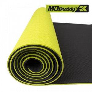 Коврик для йоги ТПЭ (TPE) (183*61*0,6 см) зеленый MD Buddy MD9038