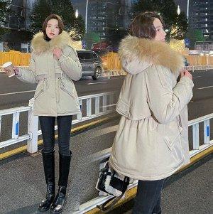 Женская зимняя парка, с декоративным карманом на спине, цвет хаки