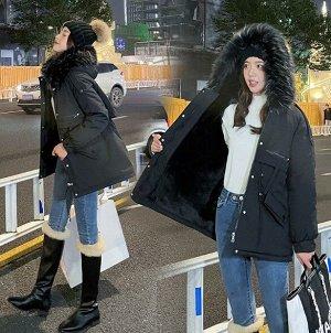 Женская зимняя парка, с декоративным карманом на спине, цвет черный
