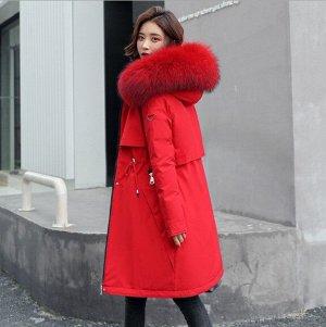 Женская зимняя парка, шнуровка на поясе, застежка-молния на карманах, цвет красный