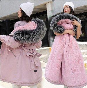 Женская зимняя парка, с карманами на молнии, с поясом, цвет розовый