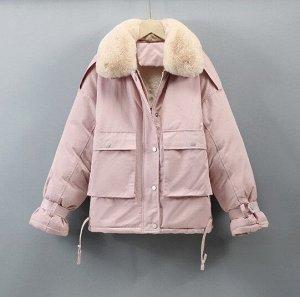 Женская зимняя парка, без капюшона, цвет розовый