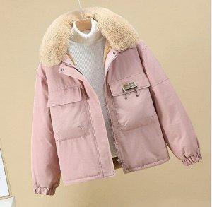 Женская зимняя парка, без капюшона, с нагрудными карманами, цвет розовый