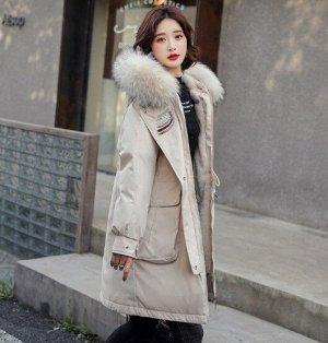 Женская зимняя парка, с вышивкой на воротнике, цвет белый