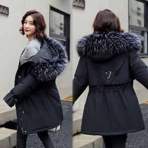 Женская зимняя парка, рукава на шнуровке, декоративный ремешок на спине, цвет черный