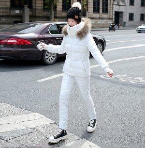 Женский зимний костюм, штаны и куртка, цвет белый