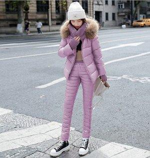 Женский зимний костюм, штаны и куртка, цвет розовый