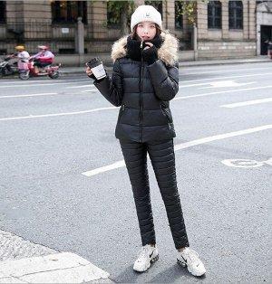 Женский зимний костюм, штаны и куртка, цвет черный