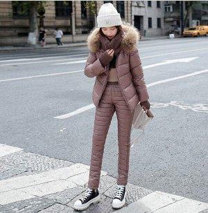 Женский зимний костюм, штаны и куртка, цвет коричневый