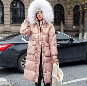 Женский зимний блестящий пуховик, цвет розовый