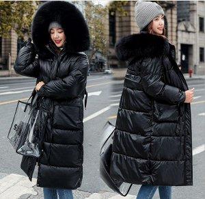 Женский зимний блестящий пуховик, цвет черный